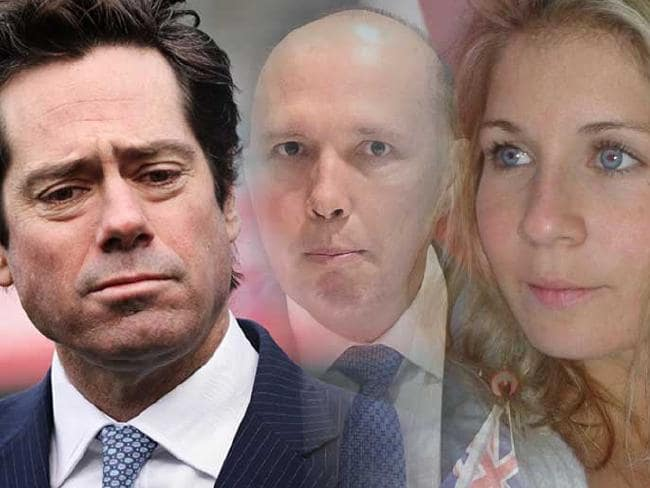 Gillon McLachlan, Peter Dutton and au pair Alexandra Deuwel.