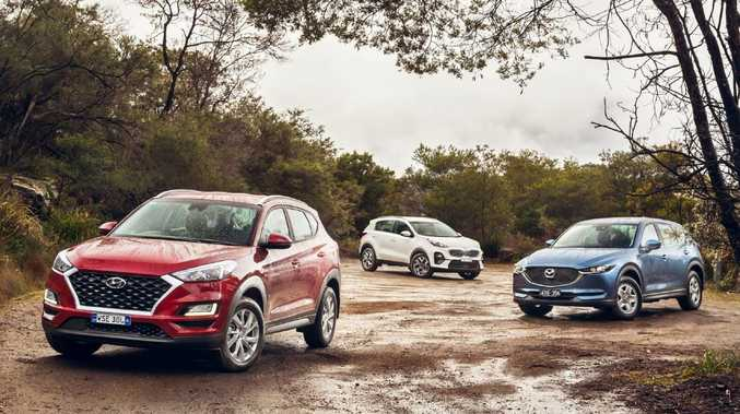 The recently updated versions of the Hyundai Tucson, Kia Sportage and Mazda CX-5, from left to right. Picture: Thomas Wielecki.