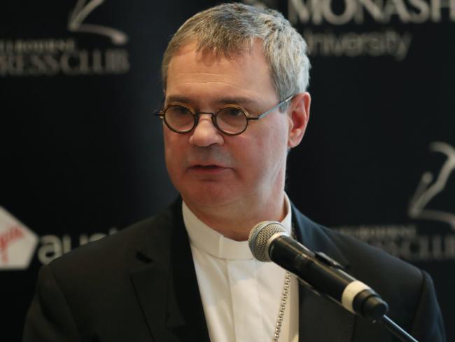 Archbishop Peter Comensoli at the National Press Club mid-last year