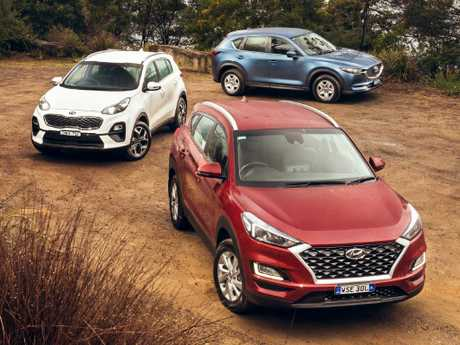 The Hyundai Tucson, Kia Sportage and Mazda CX-5 are three of the top four sellers in the class. The Toyota RAV4 isn't in this test as a new model is due in early 2019. Picture: Thomas Wielecki.