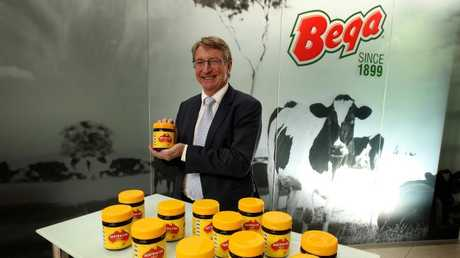 Bega boss Barry Irvin celebrates after striking a deal to buy Vegemite at the start of 2017. Picture: Stuart McEvoy.