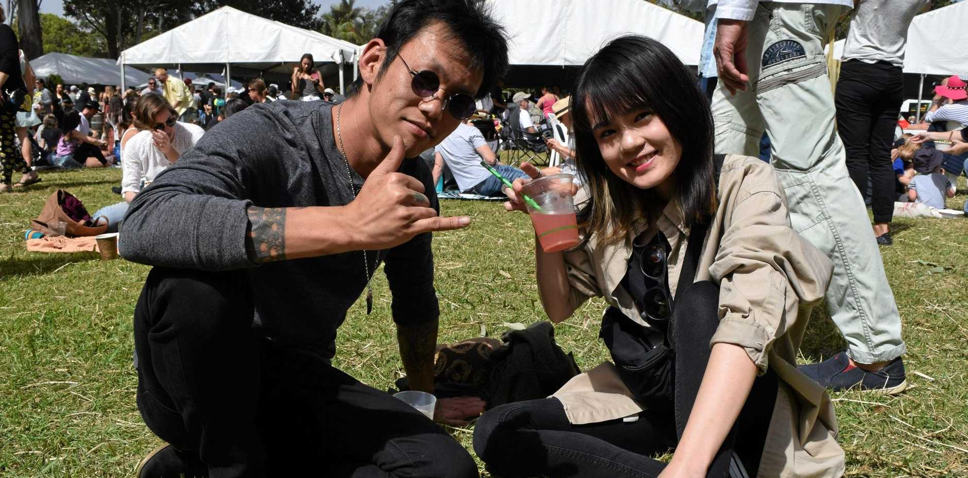 Aki Kugawa with sister Hikiru Kugawa enjoy the  2018 Sample Food Festival