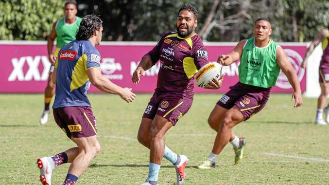 With his career drawing to an end, the Broncos' Sam Thaiday enjoys himself at training in Brisbane on Saturday. Picture: Glenn Hunt/AAP