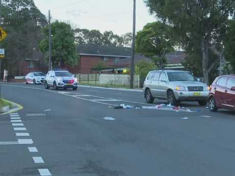Debris strewn across the road where a 16-year-old boy was knocked down and killed. Picture: TNV
