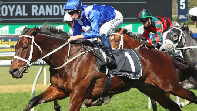 Hugh Bowman and Winx take part in a simulated race against three of her stablemates. Picture: Mark Evans/Getty