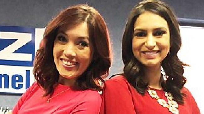 Weather girl Chelsea Ambriz, right, allegedly beat news anchor Erica Bivens, left. Picture: Twitter