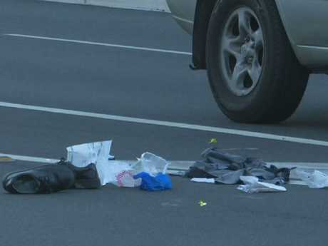 The teenager's shoes at the scene of the crash. Picture: TNV