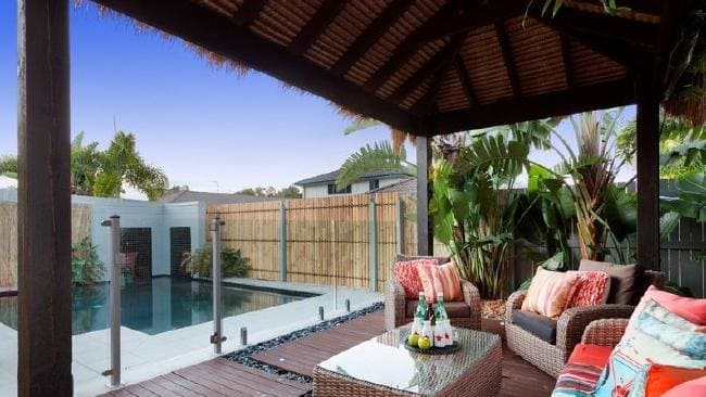 One of the standout features is an outdoor entertaining area with pool, water feature and Bali-inspired pool cabana.