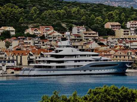 Luxury superyacht Mayan Queen, owned by Mexican billionaire Alberto Baillères, has been ordered to remain docked at the port of Argostoli until authorities interview all crew. Picture: SuppliedSource:Supplied