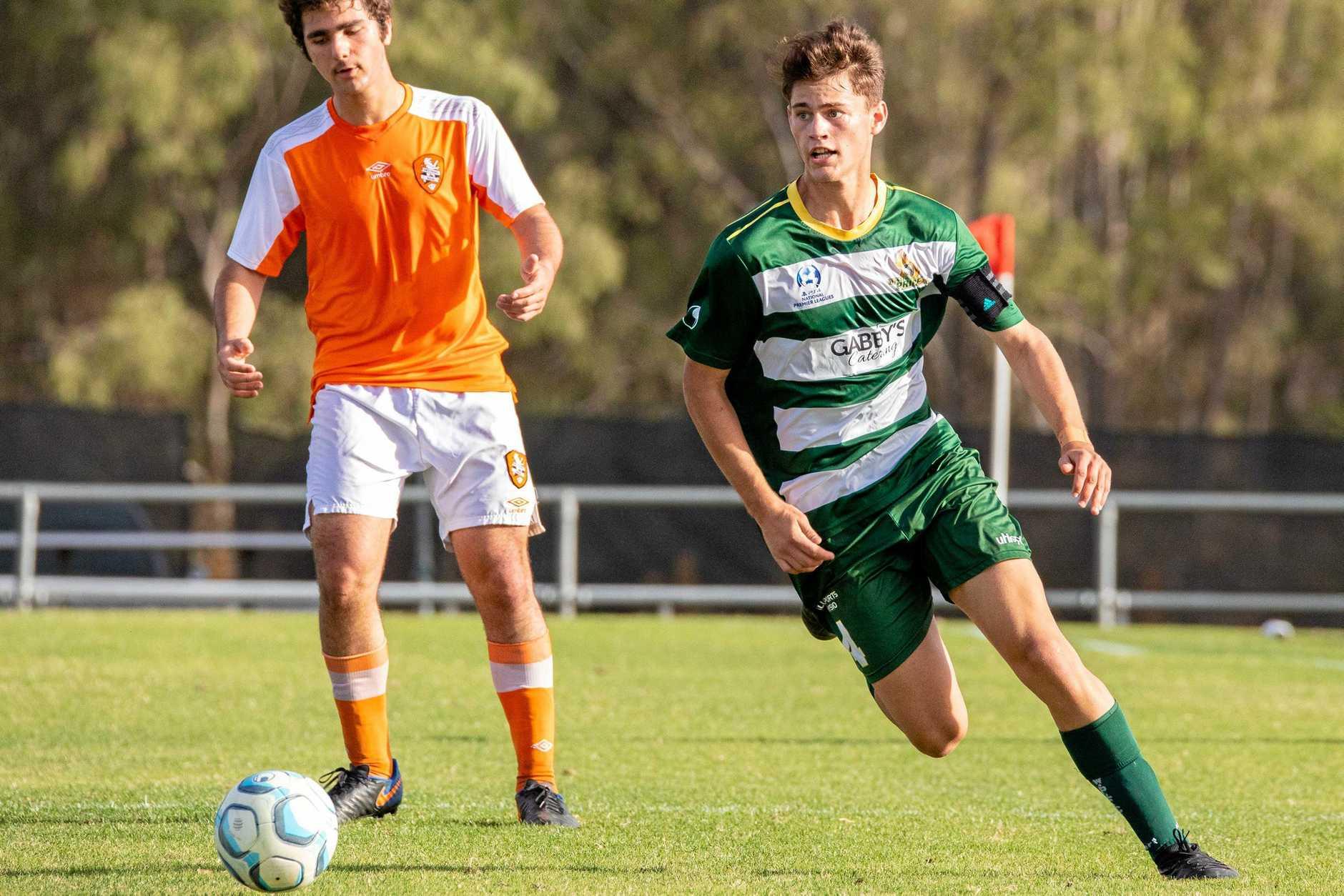 LEADING ROLE: Western Pride under-18 captain Jarrod Hyslop toils hard in his team's 2-0 NPL semi-final win over Brisbane Roar at the Briggs Road Sporting Complex.