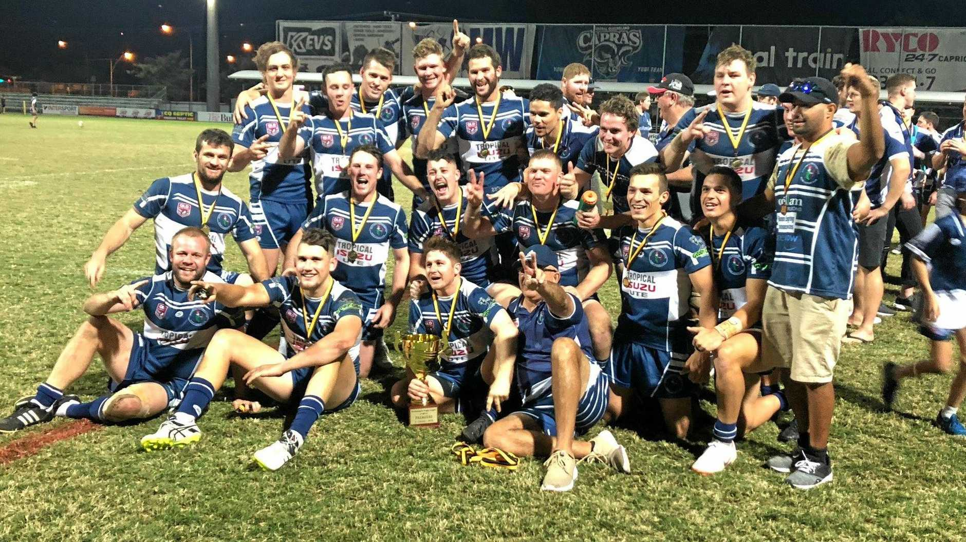 Rockhampton Brothers celebrate their grand final win over minor premiers Yeppoon.