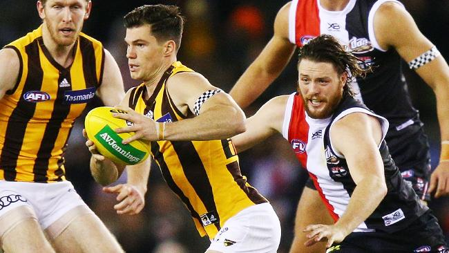 Jaeger O'Meara slips away from Jack Steven.