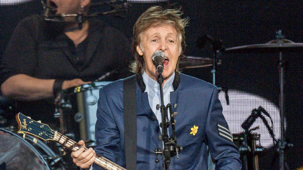 Paul McCartney performs at AAMI Park in Melbourne. Picture: Jake Nowakowski