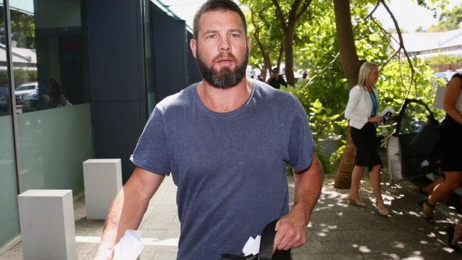 Former West Coast Eagles AFL player Ben Cousins leaves the Fremantle Magistrates Court in Perth, Friday, Jan. 20, 2017. Cousins has been handed a three-hour trial date for June 9 after he appeared in court over an allegation he was in possession of meth in June last year. (AAP Image/Richard Wainwright) NO ARCHIVING