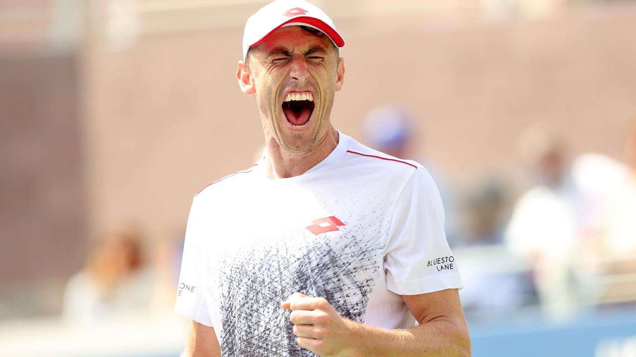 NEW YORK, NY — SEPTEMBER 01: John Millman of Australia celebrates a point during his men's singles third round match against Mikhail Kukushkin of Kazakhstan on Day Six of the 2018 US Open at the USTA Billie Jean King National Tennis Center on September 1, 2018 in the Flushing neighbourhood of the Queens borough of New York City. Elsa/Getty Images/AFP == FOR NEWSPAPERS, INTERNET, TELCOS & TELE