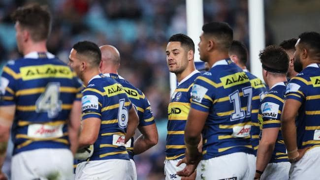 Jarryd Hayne and Eels players look on during Parramatta's loss to the Roosters. Picture: Phil Hillyard