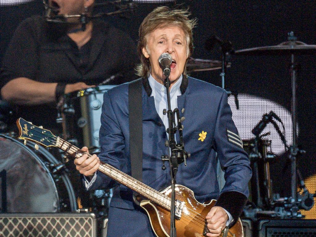 Paul McCartney performing in Australia at AAMI Park in Melbourne. Picture: Jake Nowakowski