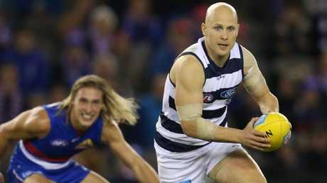 Gary Ablett puts Geelong on the attack. Picture: Michael Klein