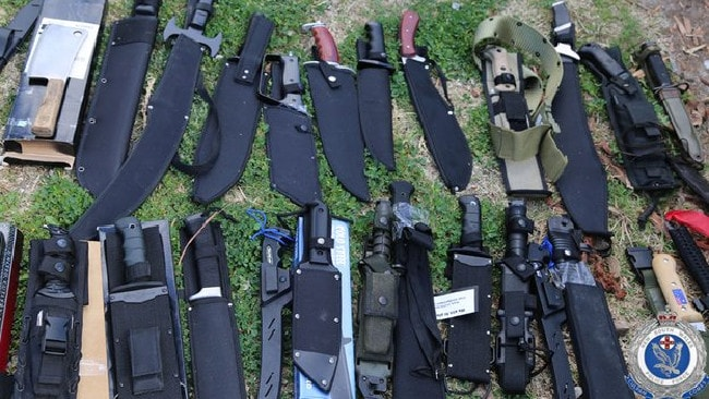 Police have seized a massive cache of weapons, including handguns, rifles, knives, crossbows and more than 2000 rounds of ammunition, in Sydney's north west. Picture: NSW Police Force