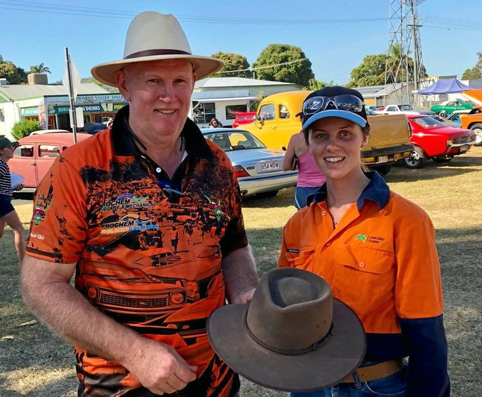 Ian from the Car Club and Reegan from Mackay Sugar are looking for this hat's owner.