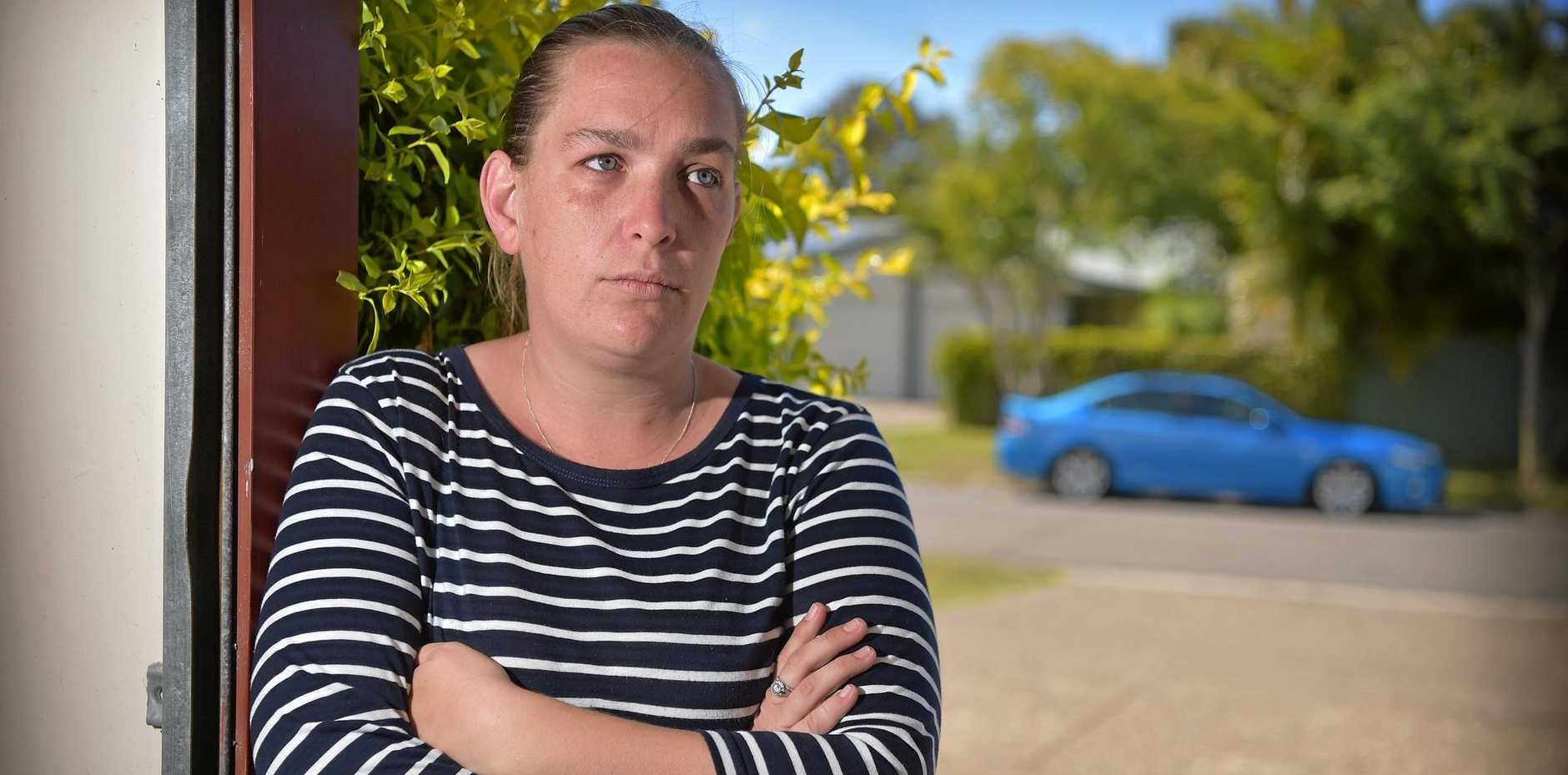 BUMPY ROAD: Mother-of-two Bianca Morley was car jacked in broad daylight on one of Nambour's main streets. She is desperate to get her red Mazda 3 back after thieves sped off.