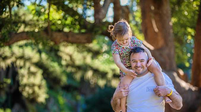 Rockhampton man Jamie Simpson celebrates Father's Day as part of a national Stockland campaign.