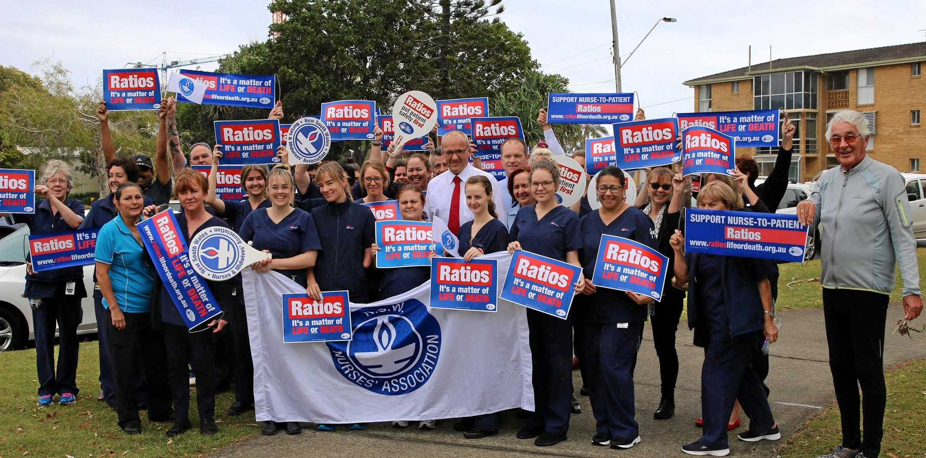 MORE JOBS: NSW Opposition leader Luke Foley meets with Tweed nurses to discuss patient-to-nurse ratios.