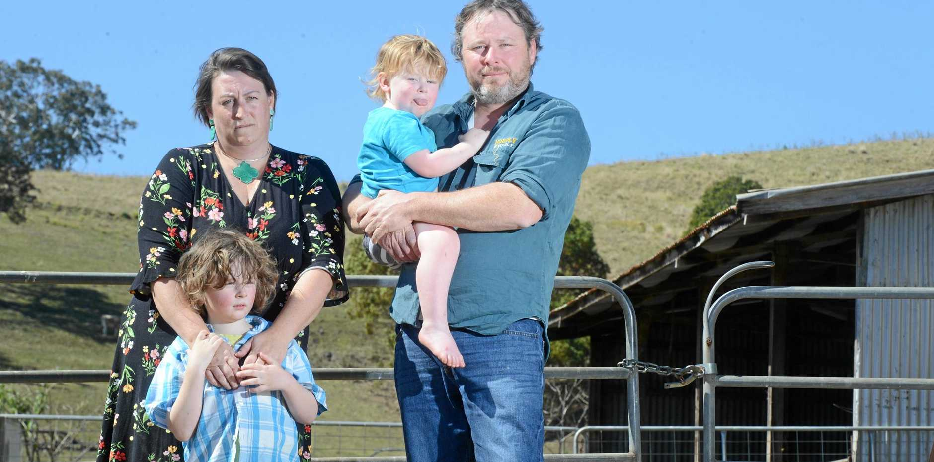 Dairy farmer Shane Hickey with wife Julia and sons Elliott, 5, and Sampson, 2, at their property near Kyogle.