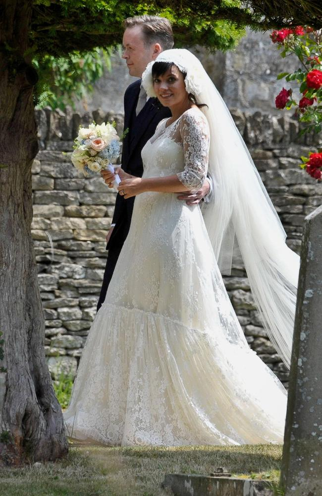 British singer Lily Allen and Sam Cooper on their wedding day in 2011. Picture: AP