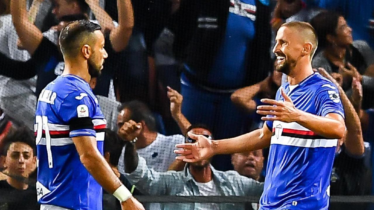 Sampdoria's Fabio Quagliarella, left, celebrates with his teammate Gaston Ramirez after scoring against Napoli.