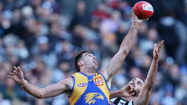 West Coast's Scott Lycett wins the tap over Collingwood's Brodie Grundy. Picture: Michael Klein