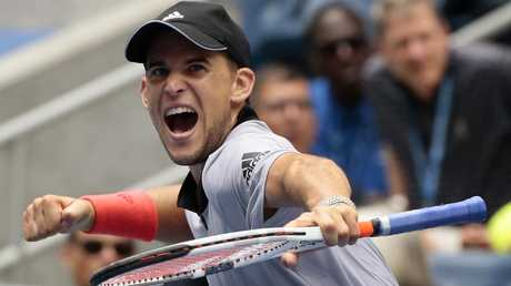 Dominic Thiem, of Austria, reacts after defeating Kevin Anderson, of South Africa. Picture: AP Photo