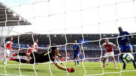 Danny Ward of Cardiff City scores his team's second goal past Petr Cech of Arsenal. Picture: Getty Images