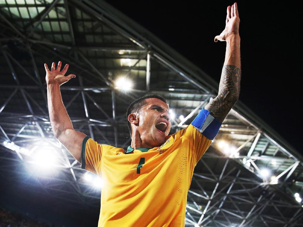 Tim Cahill celebrates scoring for Australia against South Africa in Sydney in 2014. Picture: Phil Hillyard