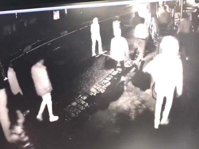 CCTV footage captures the brawl in motion.