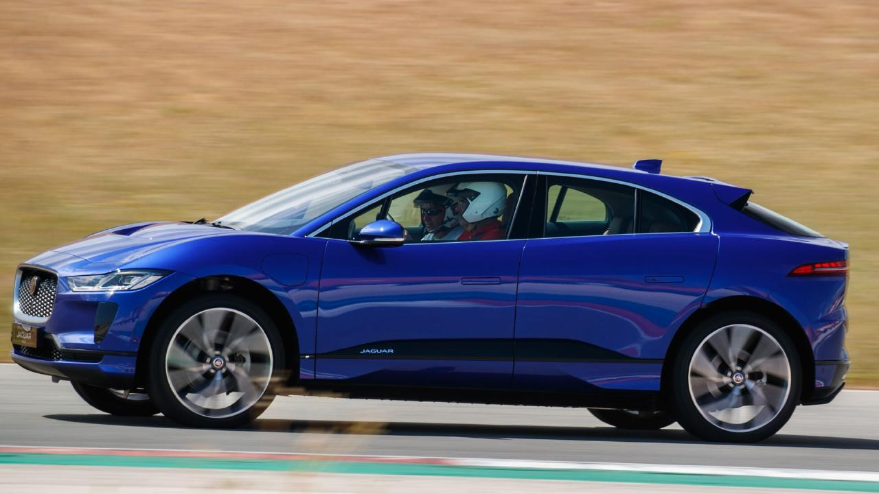 A Jaguar I-Pace is put through the paces. Prince Charles has reportedly bought one of the all-electric cars in a custom deep-blue paint job.