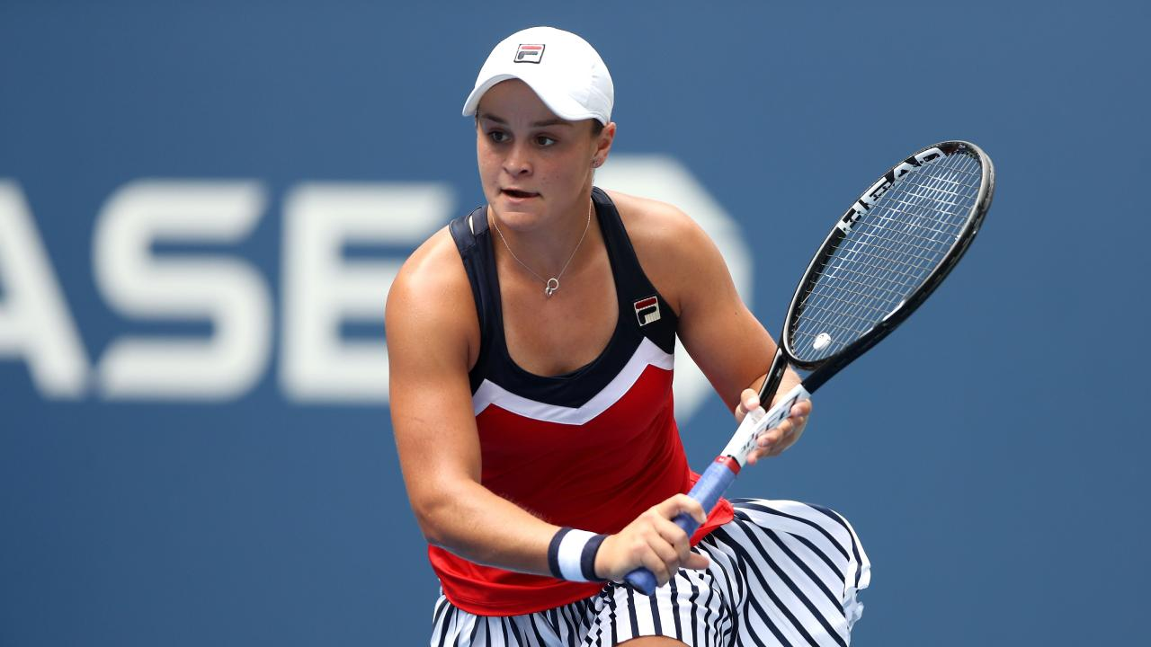 Ash Barty of Australia lost in straight sets to Karolina Pliskova in the fourth round of the US Open. Picture: Getty Images