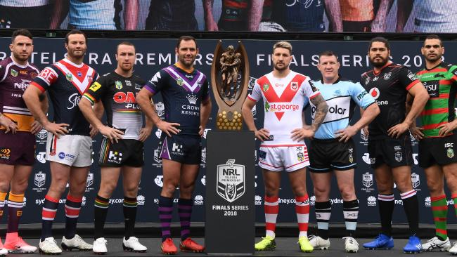 Darius Boyd (Broncos), Boyd Cordner (Roosters), James Maloney (Panthers), Cameron Smith (Storm), Gareth Widdop (Dragons), Paul Gallen (Sharks), Tohu Harris (Warriors) and the Greg Inglis (Rabbitohs) during the NRL finals series launch at Allianz Stadium. Picture: AAP