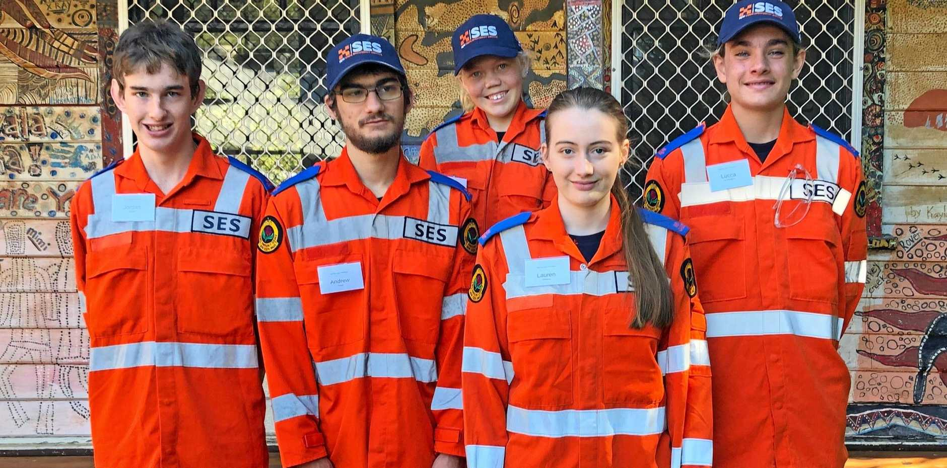 SES CADETS: Jordan Argue, Andrew Rixon, Lauren Williams, Lucca De Almeida and at back is Isabella Cougle.
