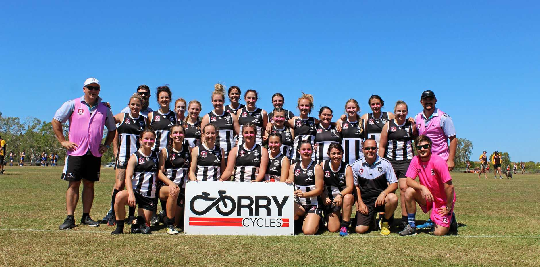 STANDING PROUD: Magpies women's team celebrate their win against City Hawks in the elimination round of finals.