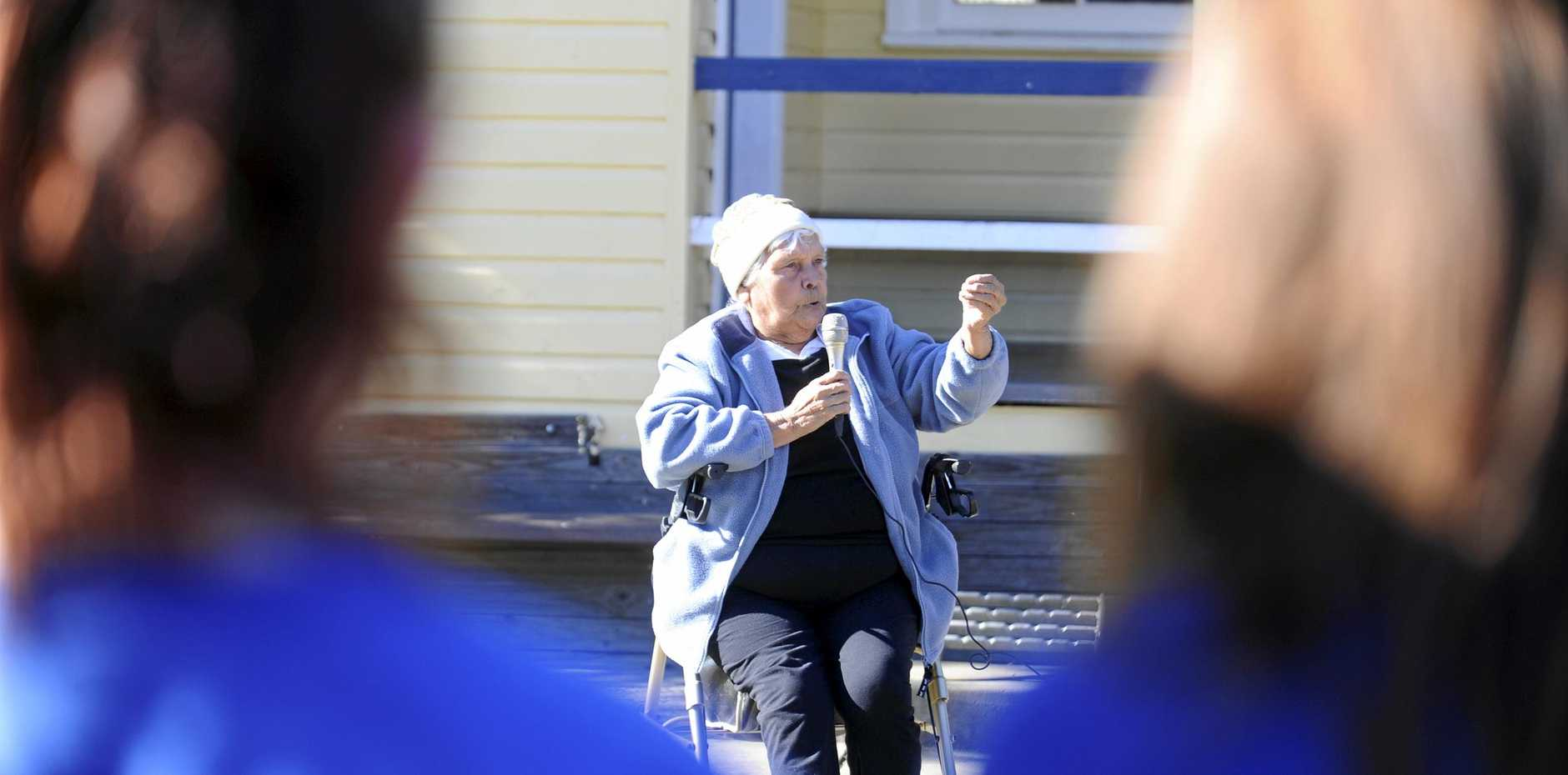 A lifetime education advocate, Aunty Pauline Gordon is pictured here addressing school students at a Naidoc Week ceremony in 2012.