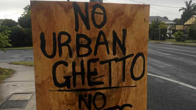 Yamba traffic light protest signs