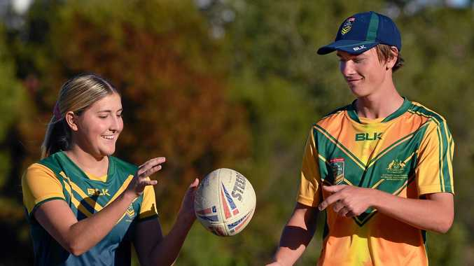 TRY TIME: Australian touch football players - and Sunshine Coasters - Rachel Walsh and Ali Bakhach, competed at the Youth World Cup last month.