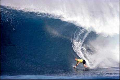 GARY Elkerton looking for the pit on a monster right during his days on the world surfing tour.
