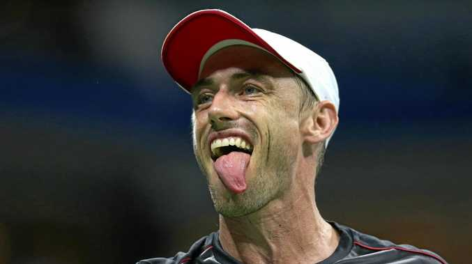 John Millman shows some emotion during his fourth-round clash with Roger Federer at the US Open. Picture: Alex Pantling/Getty