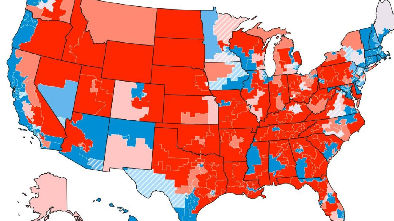FiveThirtyEight's map of Congressional seats. They're all up for grabs. Pic: FiveThirtyEight