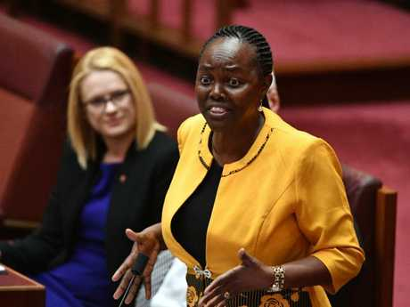 Liberal Senator Lucy Gichuhi says she will detail her own experience with bulling in relation to the PM's leadership spill. Picture: AAP/Mick Tsikas