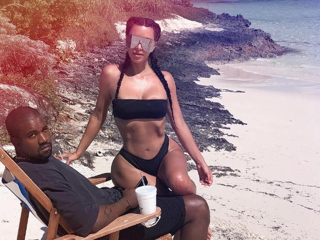 Kanye West and Kim Kardashian pictured on holiday in Miami in last month. Picture: Instagram