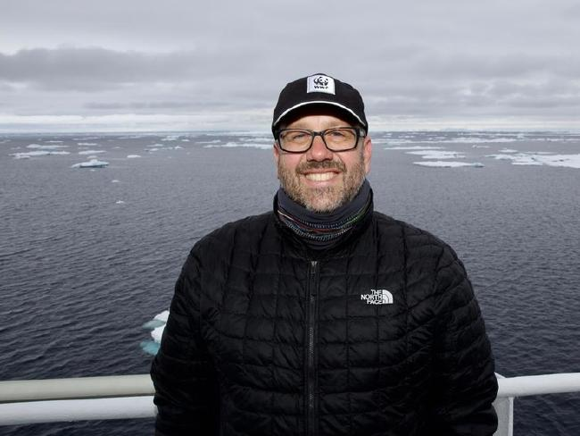 Chris Johnson, senior manager of WWF's Antarctic Program, pictured during an expedition in January 2018.