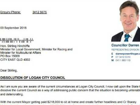 The letter Cr Darren Power sent to Local Government Minister Stirling Hinchliffe on Monday.